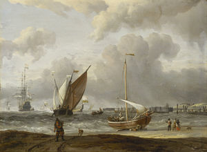 Abraham Storck (Sturckenburch) - Fishing Boats in a Storm off the Dutch Coast at Den Helder
