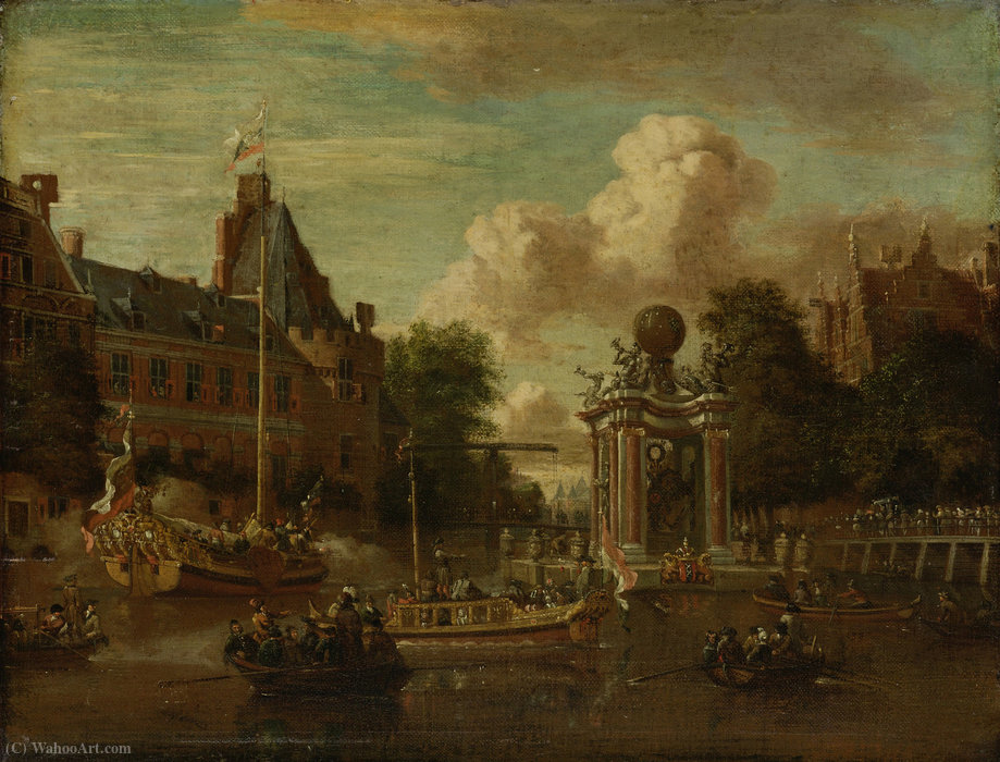 he arrival of the Russian embassy in Amsterdam by Abraham Storck (Sturckenburch) (1644-1708, Netherlands) | WahooArt.com