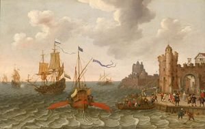 Abraham Willaerts - A French galley and Dutch men-of-war off a port