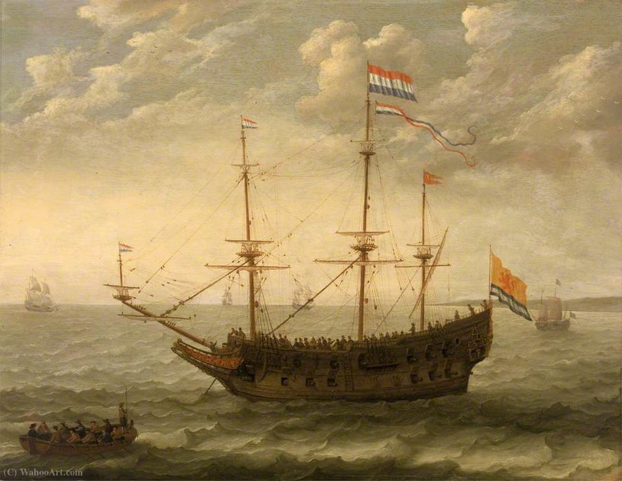 A Zeeland Ship at Anchor by Abraham Willaerts (1603-1669, Netherlands)