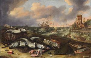 Abraham Willaerts - Fish still life with stormy seas
