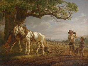Order Museum Quality Reproductions : Rest of the peasants at field by Adam Albrecht (1786-1862, Germany) | WahooArt.com