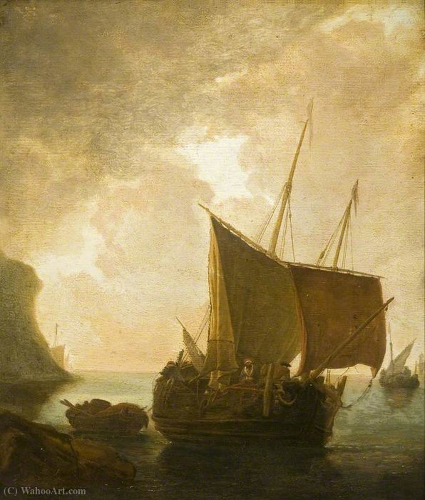 Harbour Scene with Fishing Boats by Adam Pynacker (1622-1673, Netherlands) | Oil Painting | WahooArt.com
