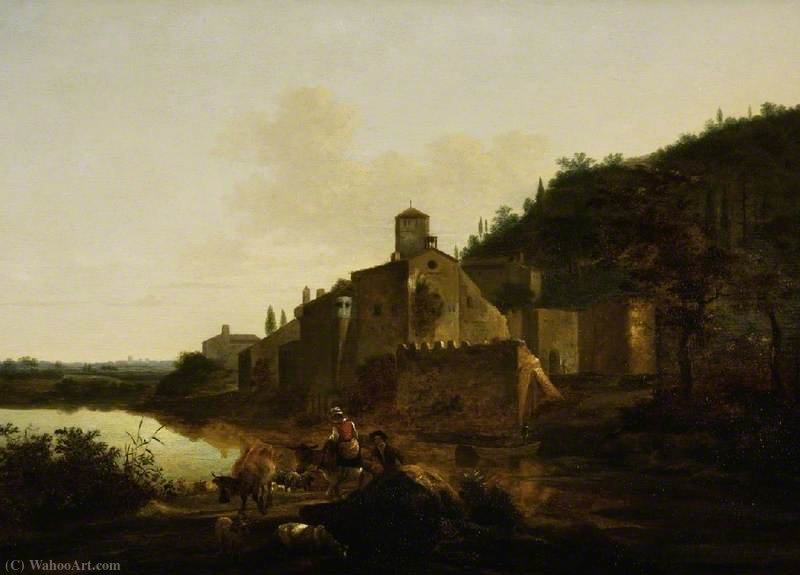 Italian Landscape with a Monastery by Adam Pynacker (1622-1673, Netherlands)