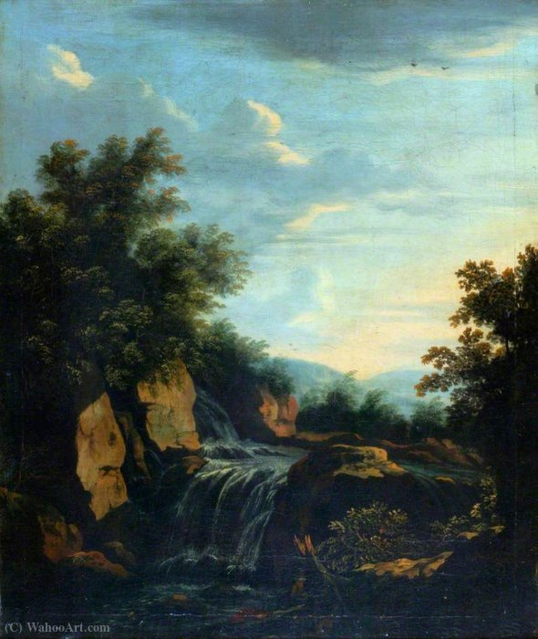 Landscape with a Waterfall by Adam Pynacker (1622-1673, Netherlands)