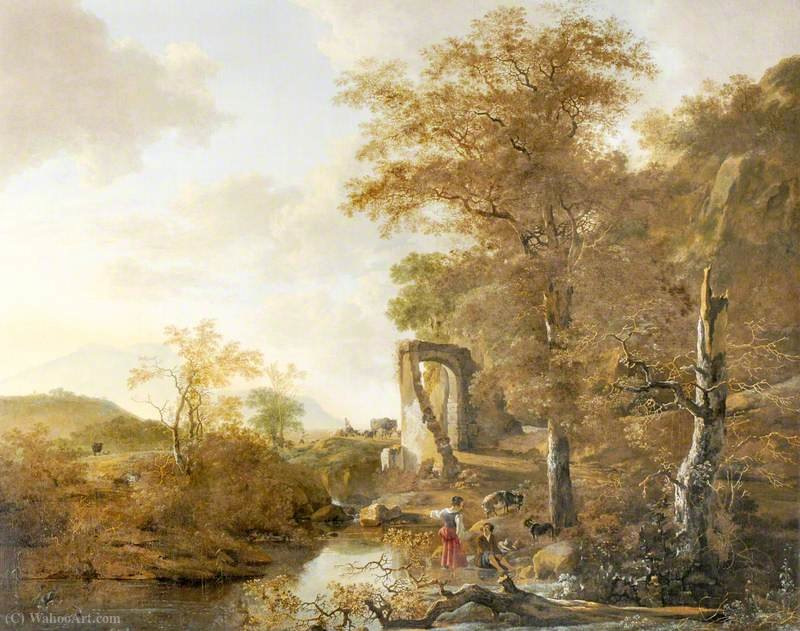 Landscape with an Arched Gateway by Adam Pynacker (1622-1673, Netherlands)