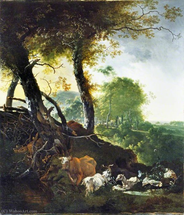 Landscape with Animals by Adam Pynacker (1622-1673, Netherlands)