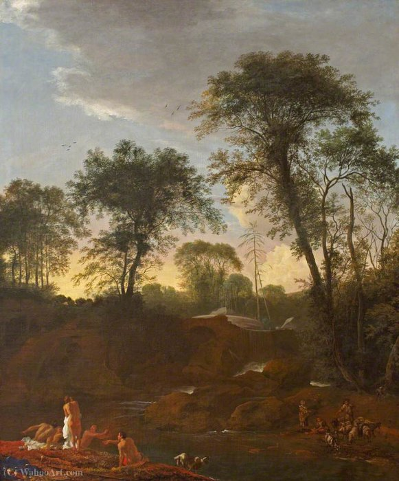 Landscape with Figures Bathing by Adam Pynacker (1622-1673, Netherlands)