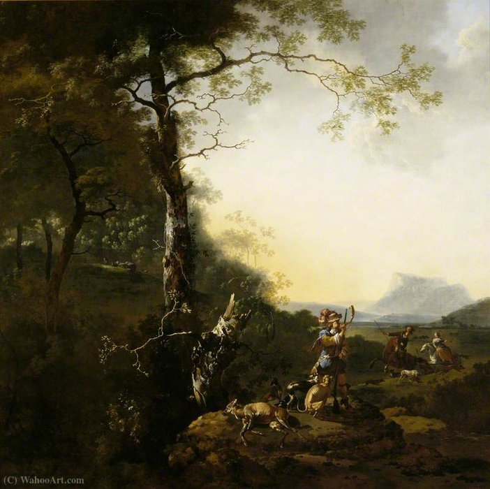 Landscape with Huntsmen by Adam Pynacker (1622-1673, Netherlands) | Oil Painting | WahooArt.com