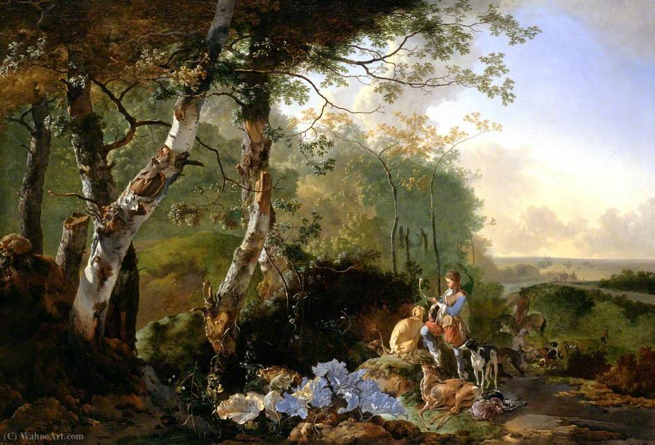 Landscape with Sportsmen and Game by Adam Pynacker (1622-1673, Netherlands) | Oil Painting | WahooArt.com