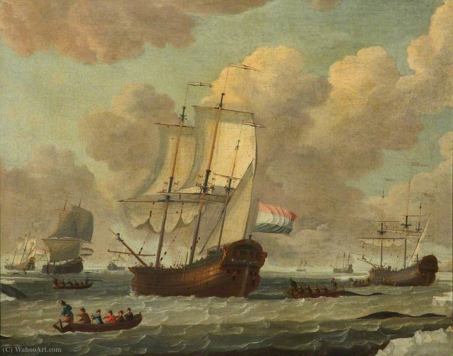 Order Art Reproductions | Dutch Whalers in the Ice by Adam Silo (1674-1760, Netherlands) | WahooArt.com
