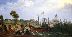 Adam Willaerts - A Dutch Squadron Attacking a Spanish Fortress
