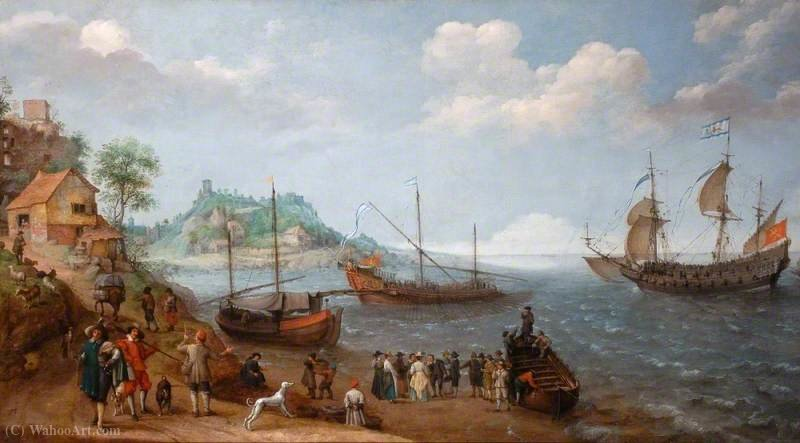 An embarkation scene by Adam Willaerts (1577-1664, United Kingdom) | Art Reproduction | WahooArt.com
