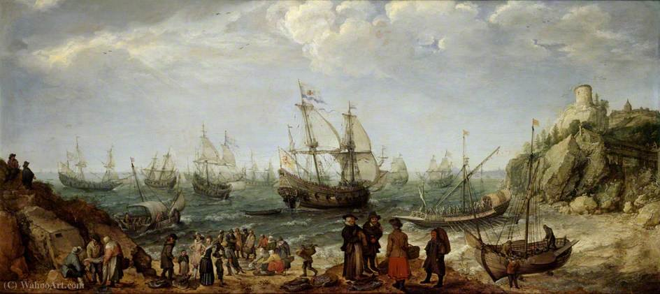 Warships off the Coast with a Fishmarket on the Beach by Adam Willaerts (1577-1664, United Kingdom) | Oil Painting | WahooArt.com