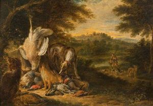 Adriaen De Gryef - Landscape with Sportsman, Hunting Dogs and Dead Game