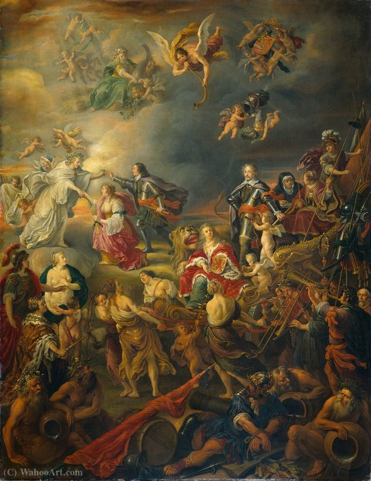 Allegory of the Peace under Stadtholder William II by Adriaen Van Nieulandt The Younger (1587-1658, Belgium) | Famous Paintings Reproductions | WahooArt.com