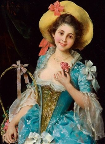 The flower girl by Adriano Cecchi (1850-1936, Italy) | Famous Paintings Reproductions | WahooArt.com