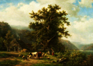 Alexander Joseph Daiwaille - Landscape with Cattle