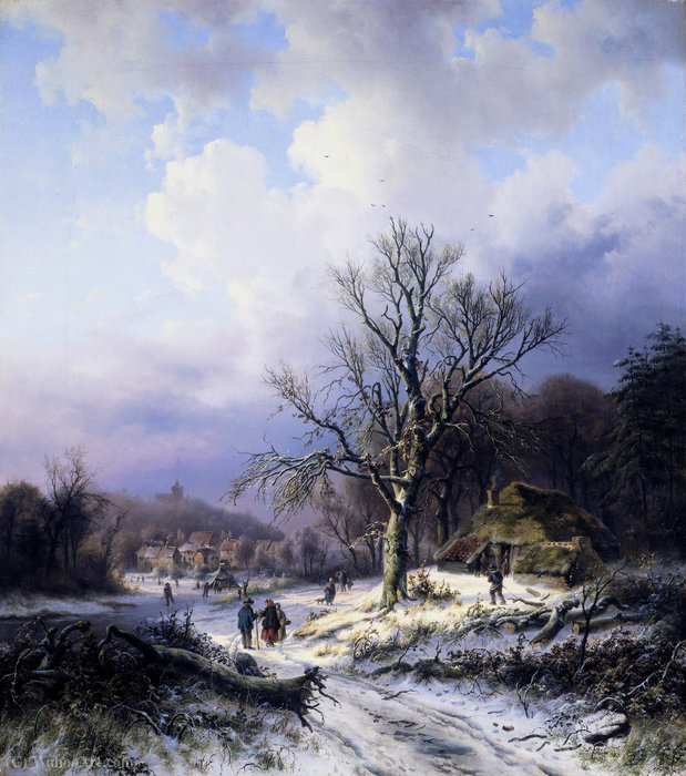 Buy Museum Art Reproductions | Snow landscape by Alexander Joseph Daiwaille (1818-1888, Netherlands) | WahooArt.com