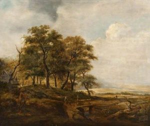 Buy Museum Art Reproductions | Landscape with a Rustic Bridge by Alexander Junior Fraser (1828-1899) | WahooArt.com