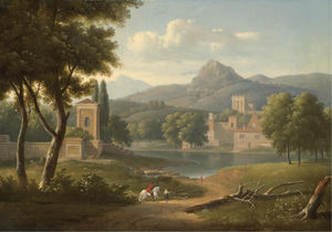 Alexandre Hyacinthe Dunouy - A classical river landscape with travellers on a path in the foreground