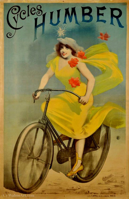 Advertising poster of Cycles Humbert by Alfred Choubrac (1853-1902)