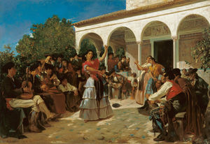 Alfred Dehodencq - A Gypsy Dance in the Gardens of the Alcázar, in front of Charles V Pavilion.