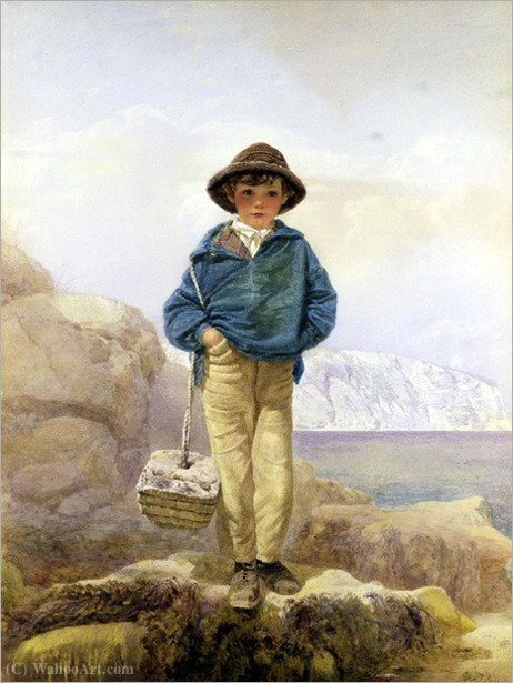 A fisher boy by Alfred Downing Fripp (1822-1895, United Kingdom)