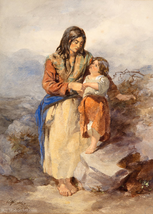 Galway Woman and Child by Alfred Downing Fripp (1822-1895, United Kingdom)