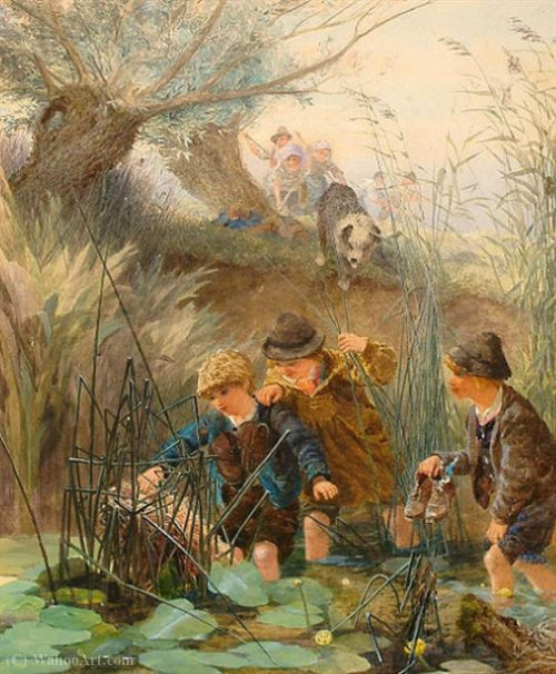 Mischievous friends by Alfred Downing Fripp (1822-1895, United Kingdom)