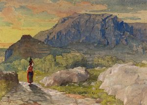 Order Print On Canvas Peasant Woman in a Mountainous Landscape by Alfred Downing Fripp (1822-1895, United Kingdom) | WahooArt.com | Order Poster On Canvas Peasant Woman in a Mountainous Landscape by Alfred Downing Fripp (1822-1895, United Kingdom) | WahooArt.com