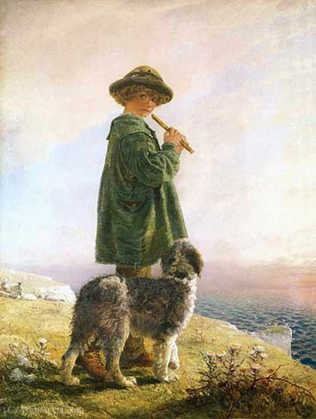 The piping shepherd by Alfred Downing Fripp (1822-1895, United Kingdom)