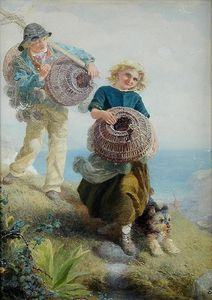 Order Framed Giclee The young shrimpers by Alfred Downing Fripp (1822-1895, United Kingdom) | WahooArt.com | Order Print On Canvas The young shrimpers by Alfred Downing Fripp (1822-1895, United Kingdom) | WahooArt.com
