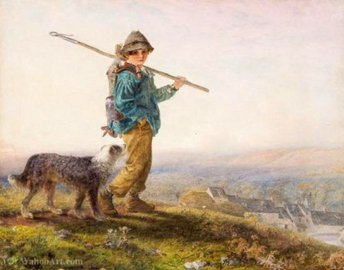 Young gamekeeper by Alfred Downing Fripp (1822-1895, United Kingdom)