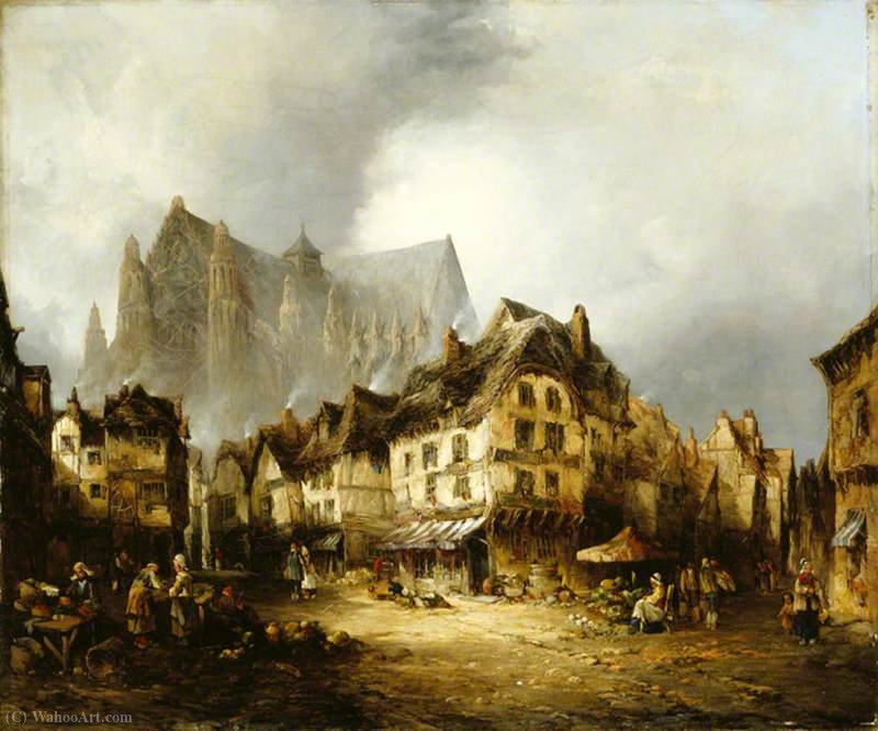 Beauvais Cathedral and Market by Alfred Montague (1832-1883, United Kingdom)