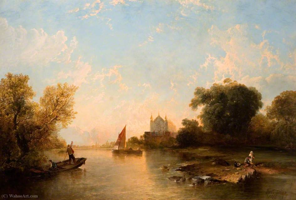 Eton College from the River by Alfred Montague (1832-1883, United Kingdom)