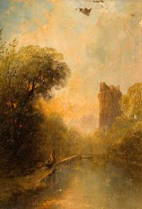 Alfred Montague - Landscape with a Ruined Castle