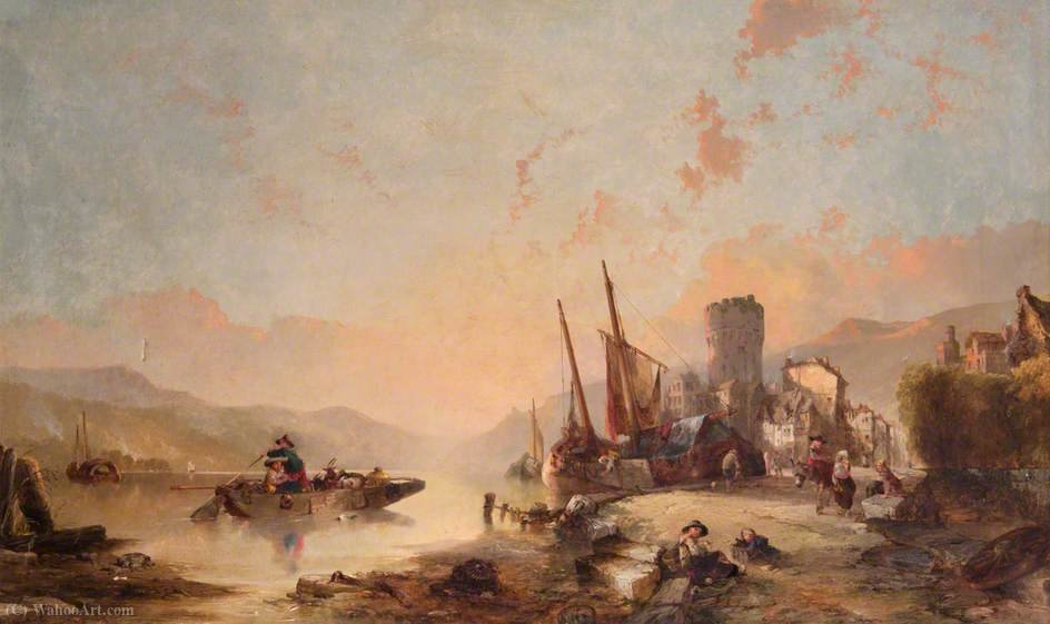 Order Art Reproductions | Landscape with Boats and Tower by Alfred Montague (1832-1883, United Kingdom) | WahooArt.com