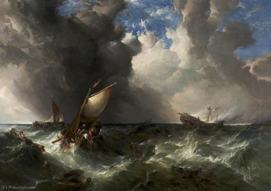 Ship on Fire off the North Foreland by Alfred Montague (1832-1883, United Kingdom) | Museum Art Reproductions Alfred Montague | WahooArt.com