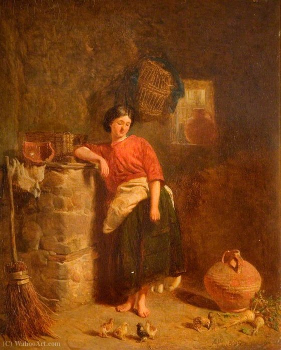 A woman watching chickens by Alfred Provis (1843-1886, United Kingdom)