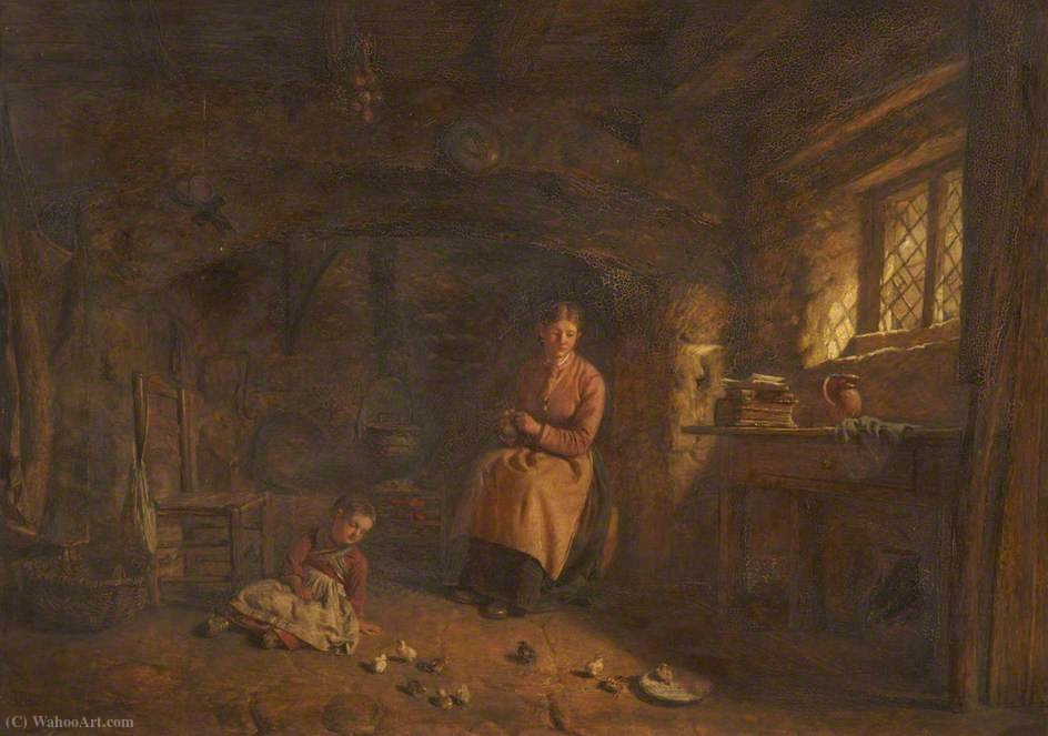 Cottage interior by Alfred Provis (1843-1886, United Kingdom)