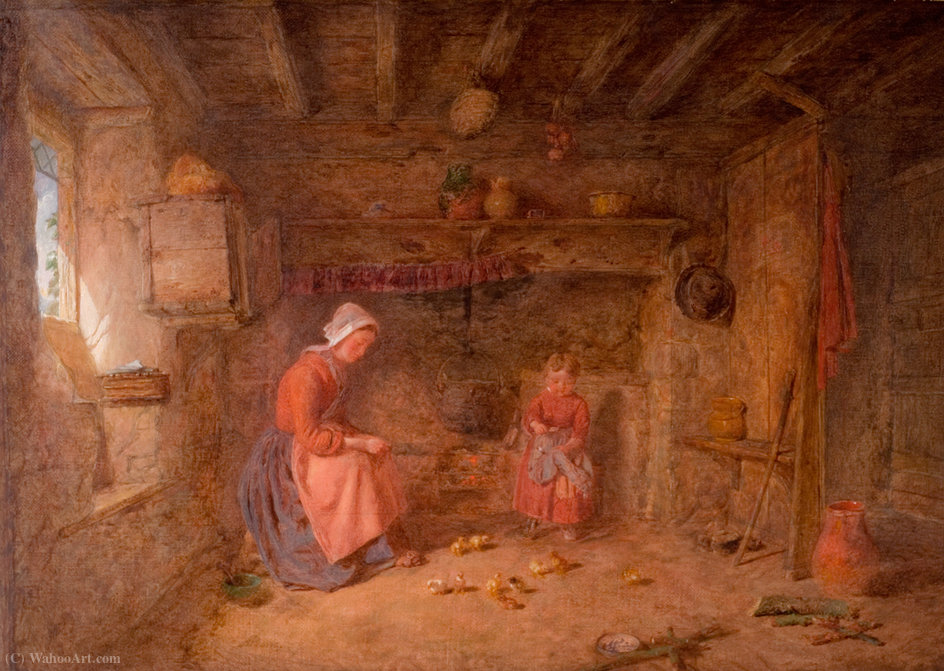 Feeding time by Alfred Provis (1843-1886, United Kingdom)