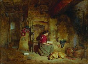 Alfred Provis - Interior, girl reading