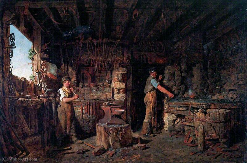 The blacksmith`s forge by Alfred Provis (1843-1886, United Kingdom) | Museum Quality Reproductions | WahooArt.com