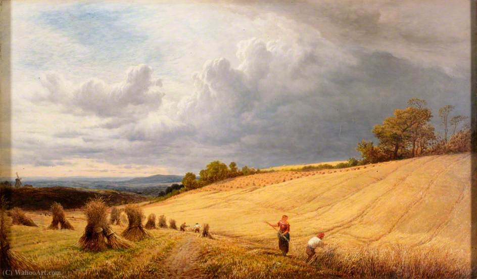 Cornfield with Reapers by Alfred Walter Williams (1824-1905, United Kingdom)