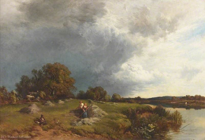 Haymaking, Sunshine and Showers by Alfred Walter Williams (1824-1905, United Kingdom) | Paintings Reproductions Alfred Walter Williams | WahooArt.com
