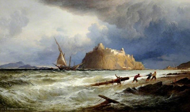 The Castle of Ischia, off the Coast of Naples, Italy by Alfred Walter Williams (1824-1905, United Kingdom) | Museum Quality Reproductions | WahooArt.com