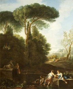 Andrea Locatelli - Classical Landscape with Figures by a Fountain