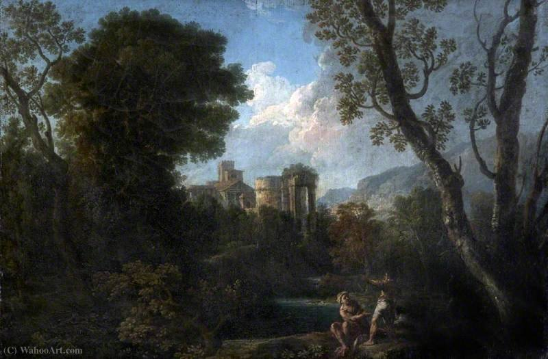 Classical Landscape with Ruins and Figures by Andrea Locatelli (1695-1741, Italy) | Paintings Reproductions Andrea Locatelli | WahooArt.com