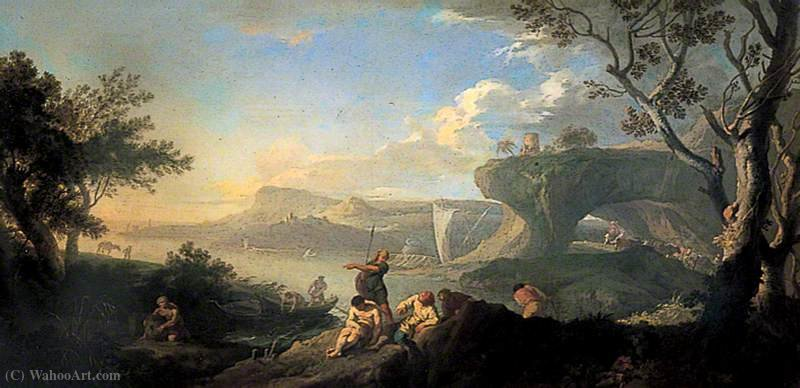 Classical Landscape, Coastal Scene with Fishermen by Andrea Locatelli (1695-1741, Italy) | Paintings Reproductions Andrea Locatelli | WahooArt.com